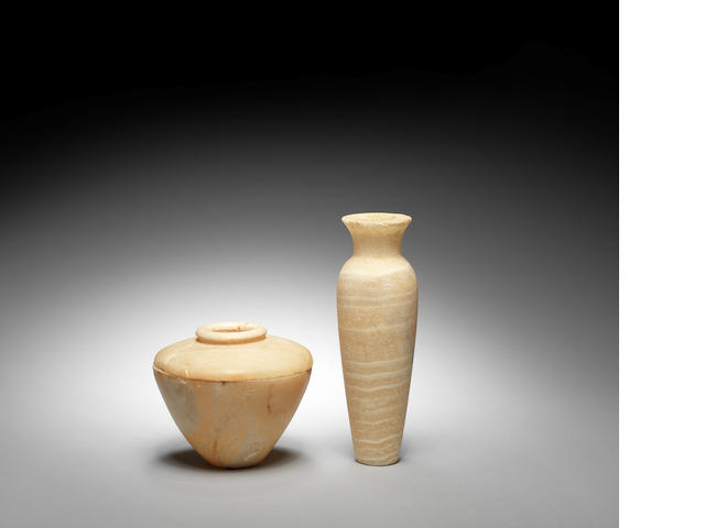 An Egyptian alabaster jar  and an Egyptian alabaster vessel, 2
