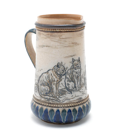 Hannah and Lucy Barlow for Doulton Lambeth a Jug with Five Cats, 1883