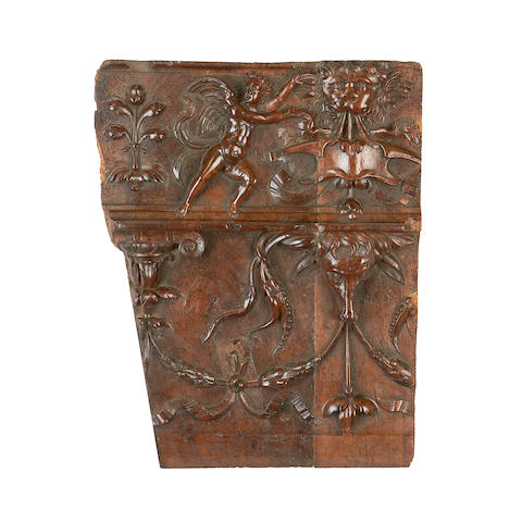 A collection of four 16th century and later carved wood panels