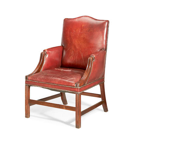 A first half 20th century mahogany 'Gainsborough' armchair in the George III style
