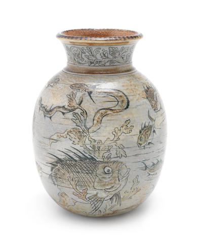 Martin Brothers A Good Stoneware Vase with Grotesque Fish, 1891