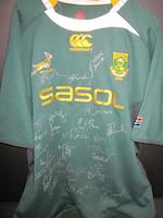 A collection of Australian/South African/New Zealand rugby shirts, some hand signed