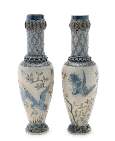 Martin Brothers An Early Near-Pair of Stoneware Vases with Cranes, 1875