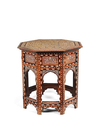 A late 19th century Indian ivory and ebony inlaid occasional table