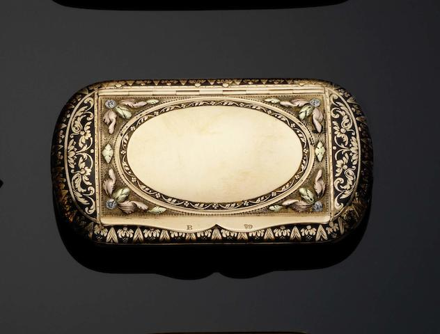 A 19th century Swiss vari-colour gold and enamelled snuff box by Alexander Magnin, Geneva, with later double eagle's head control mark