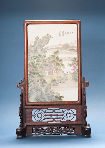 A famille rose rectangular screen Cyclically dated bingzi year (AD1936)