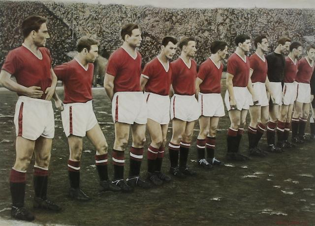 Busby babes 'Last Line up' Manchester United limited edition print