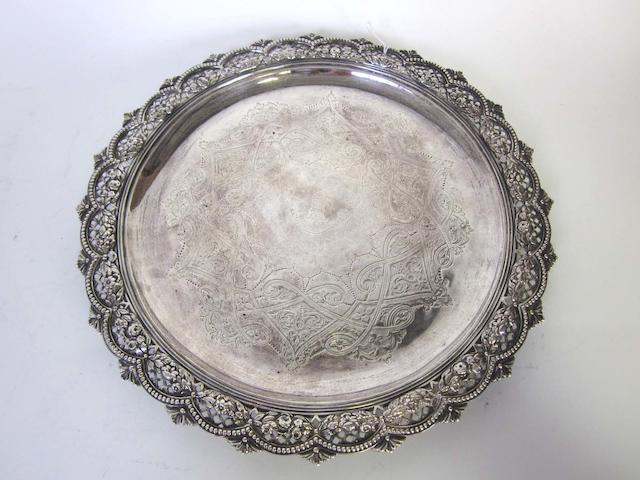 A Victorian   silver salver  by Stephen Smith, London 1872