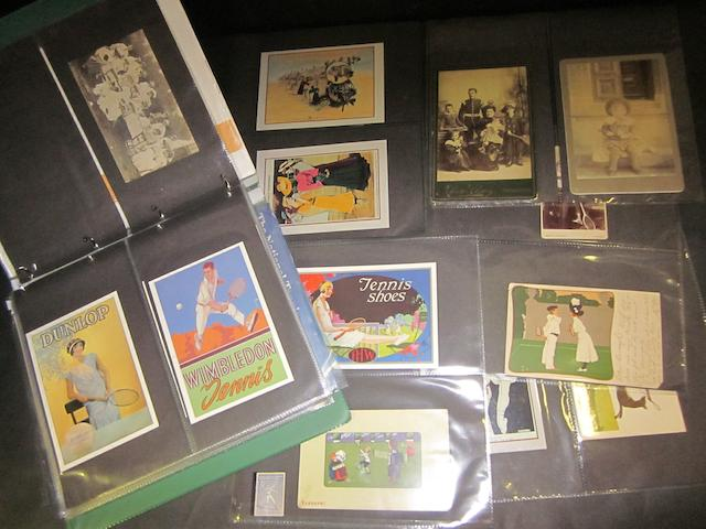 Tennis post cards and ephemera