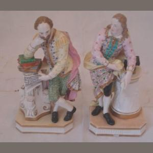 A pair of Minton figures, circa 1850, Shakespeare and Milton, in enamel colours and gilt, cross swords mark, minor damages, 18cm.