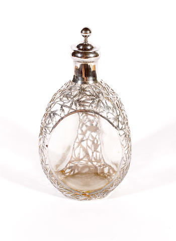 A Chinese export silver and glass triform decanter and stopper