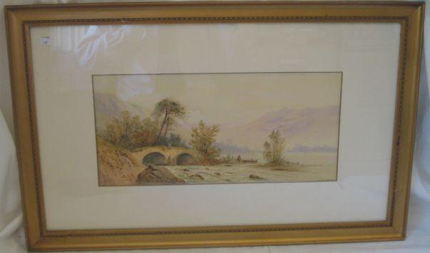 E St John Figure on a bridge beside a river,signed, watercolour, 22 x 47cm, another 19th Century watercolour of figures resting on a path, 31 x 40cm and another (3)