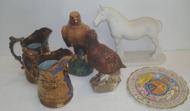 A Royal Doulton The Famous Grouse liquor bottle, and Whyle & Mackay Golden Eagle decanter, Coalport figure of the horse Clydesdale, pair of Victorian copper lustre jugs, with blue painted detail and a George VI and Queen Elizabeth Paragon Coronation plate. (6)