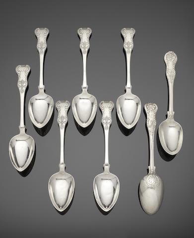 Twelve  Scottish silver single struck variant King's pattern table spoons maker's mark J L S, probably for John Lockhart Spencer, Glasgow 1829  (12)