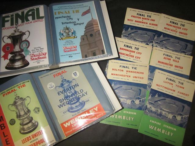 A collection of 1954 onwards F.A. Cup final football programmes