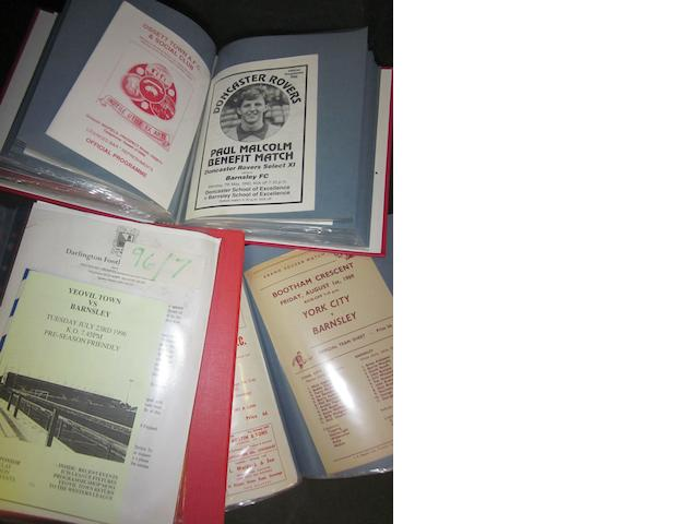 A collection of 1966 to 1990's Barnsley friendly match football programmes