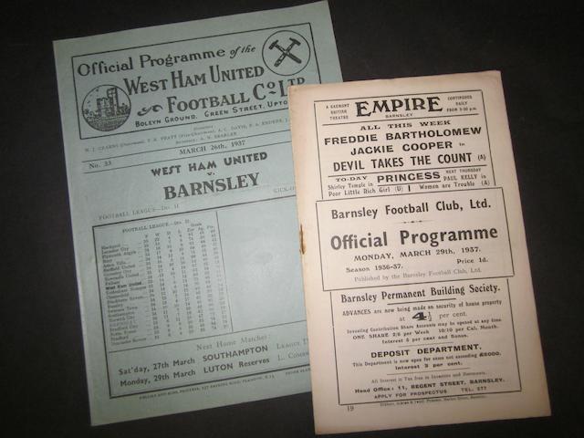 1936/37 Barnsley v West Ham programmes