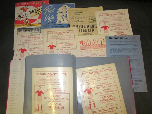 A collection of 1953/54 Barnsley home and away football programmes