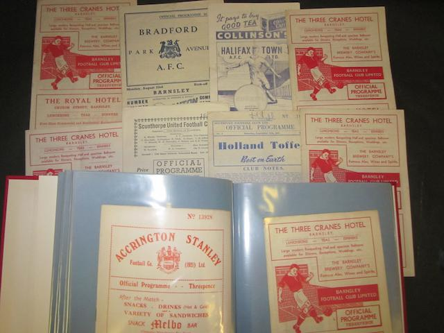 A collection of 1954/55 Barnsley home and away football programmes