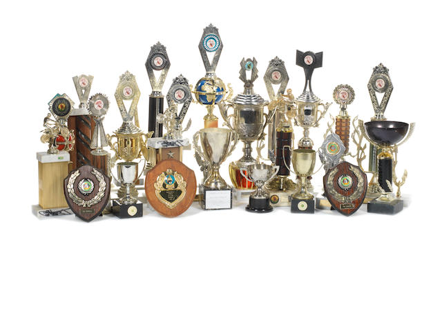 A collection of Carl Fogarty signed club racing trophies,