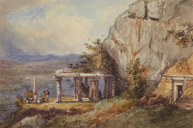 Maj. Gen. Sir Charles Walters D'Oyly, Bt. (British, 1822-1900) Figures Outside a Temple; Indian Figures and a Cow Before a Shelter; Near Mr. Lascelles House on the Coonoor Road. (3)