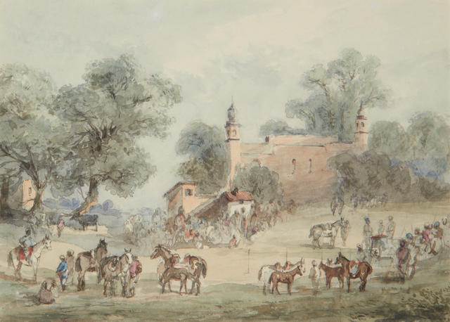 Maj. Gen. Sir Charles Walters D'Oyly, Bt. (British, 1822-1900) In Rohilcund, East Indies; At Chuckratta, Himalays; Indian figure on a camel. Together with two unframed watercolours. (5)