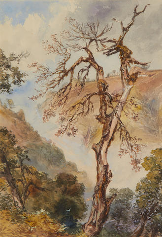 Maj. Gen. Sir Charles Walters D'Oyly, Bt. (British, 1822-1900) Tree struck by lightning, Landour, 1865; Figures outside a temple, the plains beyond; At Nynee Tal the Himalayas, 1863 34 x 23.5cm (13 3/8 x 9 1/4in); 28 x 43cm (11 x 17in); 48 x 33.5cm (19 x 13 1/4in) respectively. (3)