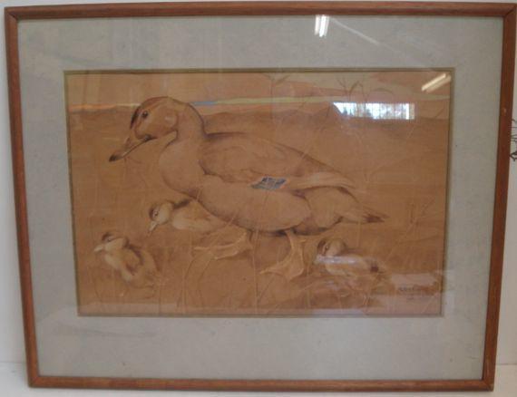 Ralston Gudgeon, RSW (British, 1910-1984) Duck and Chicks 35 x 54cm.