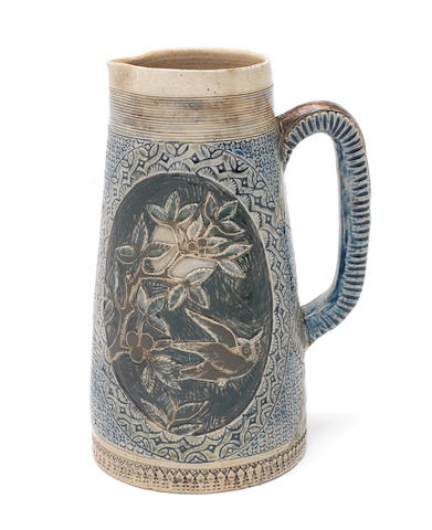 Martin Brothers an Early Jug with Owl and other Birds, 1875