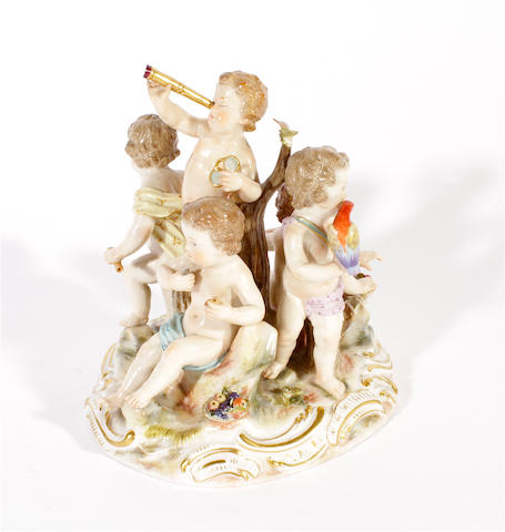 A Meissen figure group emblematic of 'The Senses', circa 1880