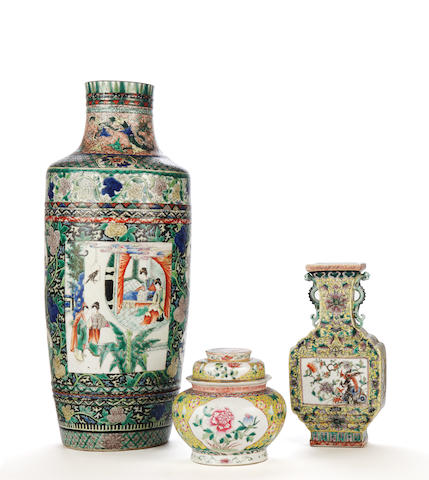 A Chinese famille verte case, a chinese baluster vase and another