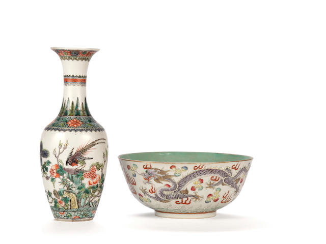 Famille verte baluster vase & dragon decorated bowl (2)