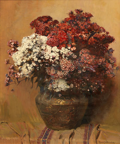 Frans David Oerder (South African, 1867-1944) Still life with Sweet William in a copper pot