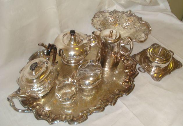 A quantity of plated wares, to include, gadrooned and oval shape tea set, engraved tea tray, dishes and covers, entree dishes, restaurant plate, cake basket.