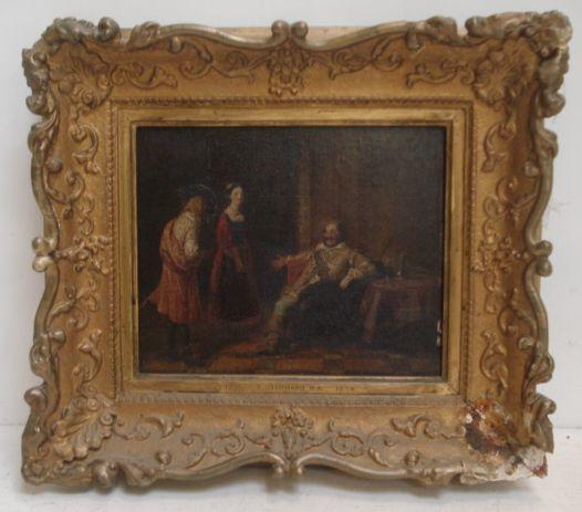 Circle of Thomas Stothard- Figures In An Interior, oil on panel, 16 x 20cm.