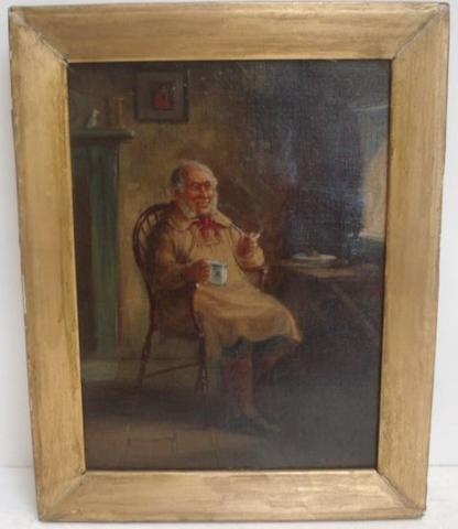 A. Austen - Cottage interior with an elderly man seated in a Windsor chair smoking a clay pipe, signed, oil on canvas, 29.5 x 21.5cm.