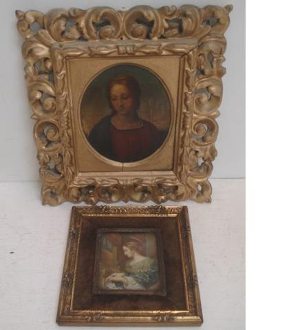 Italian School - Portrait of a Saint, bust length, oval, oil on metal panel, 14 x 12cm, in a foliate carved and pierced Florentine frame, re-gilded and a reproduction portrait miniature, watercolour on ivory, in decorative frame. (2)