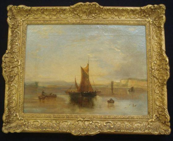 19th Century English School Boats in flat calm 29 x 39cm.