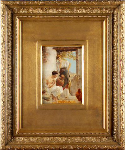 English School, 19th Century Classical figures painting an urn