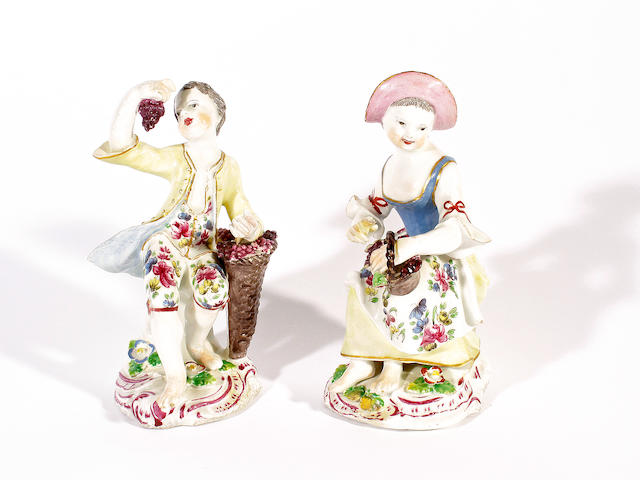 Two Bow figures of Autumn, circa 1760