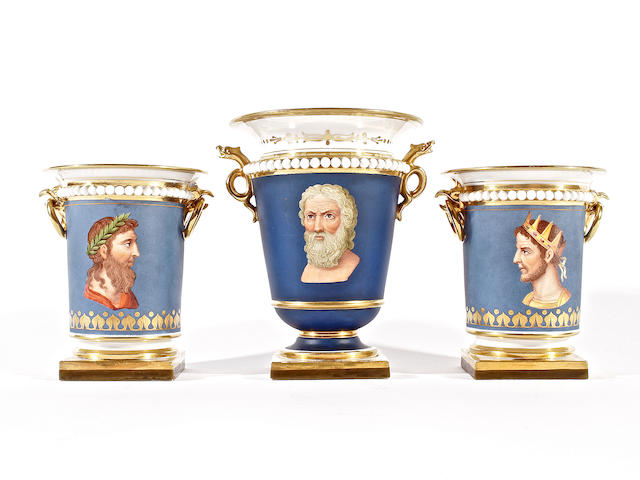 A set of three Flight, Barr and Barr vases, circa 1825