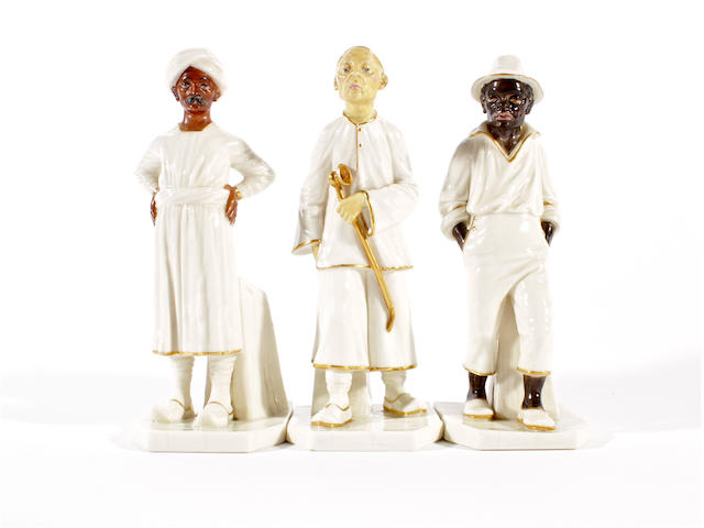 Three Royal Worcester figures from the Countries of the World modelled by James Hadley, circa 1882