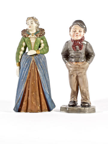 Two Royal Worcester figures, dated 1881 and circa 1885, and a pair of Derby candlestick figures, circa 1835