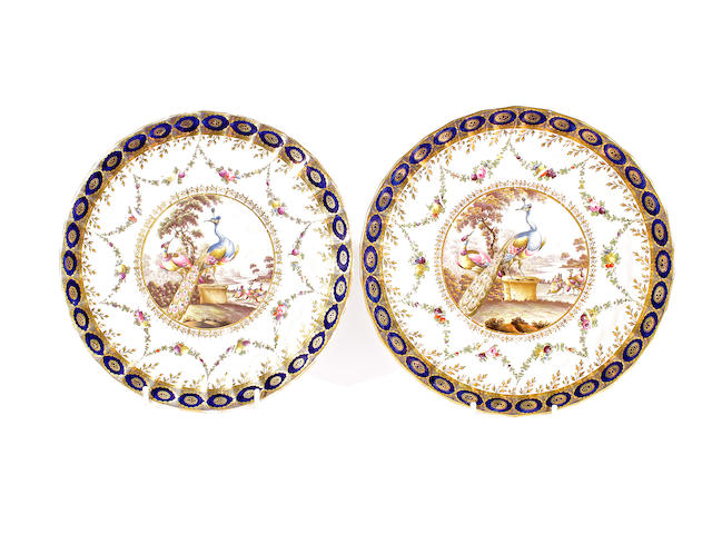A pair of Chamberlain plates, early 19th century