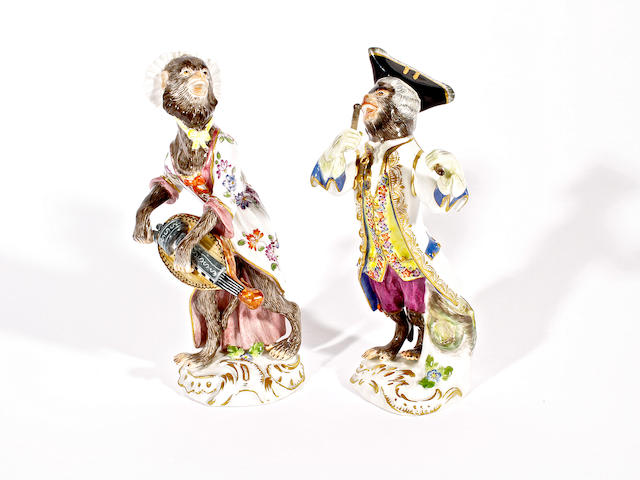 Two Meissen monkey band figures, 20th century