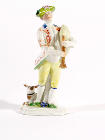 A German porcelain figure of a bagpipe player, circa 1780,