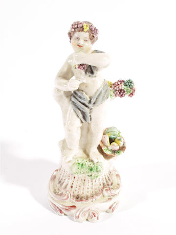 A Plymouth figure of a putto, circa 1770,