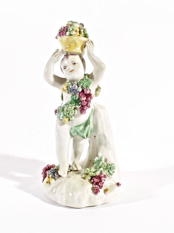 An early Derby figure of a putto, circa 1760