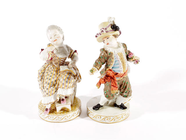 Two Meissen figures of a girl and a boy, circa 1800 and 1880