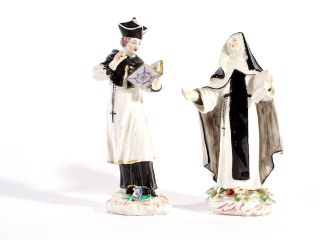 A pair of Bow figures of a priest and a nun, circa 1760